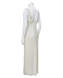 White gown with cord and stone applique