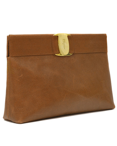 Caramel Leather Clutch