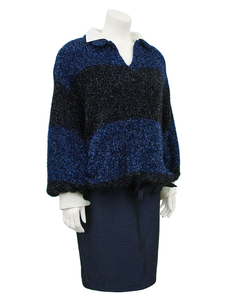 Navy Fuzzy Lurex Top and Skirt