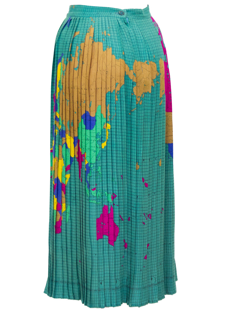 Multi Colour World Map Pleated Skirt