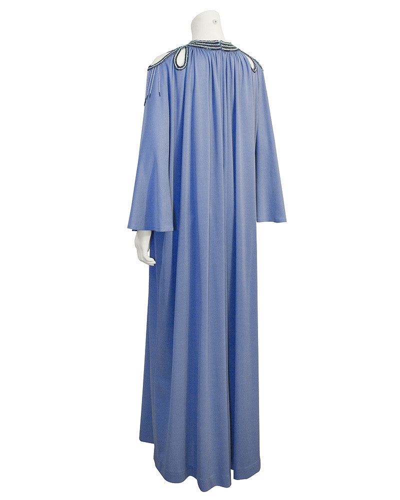 Blue Kaftan with Black and Blue Beading