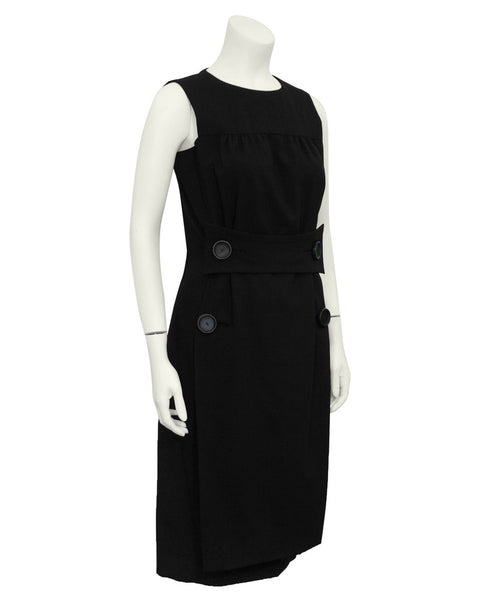 Black Cocktail Dress with Leather Buttons