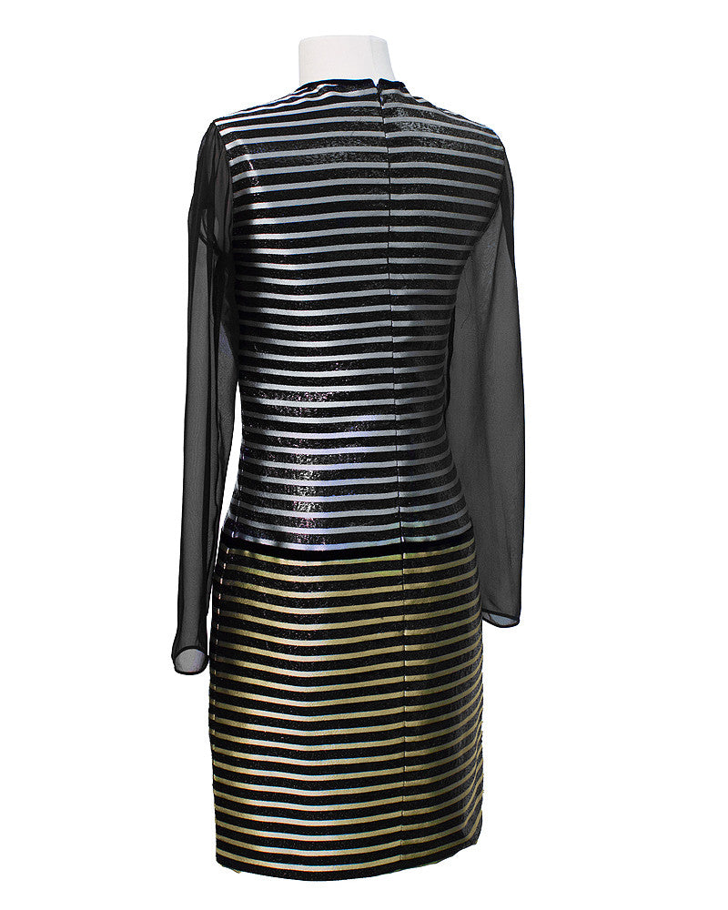 Black Dress with Metallic Stripe & Sheer Panels