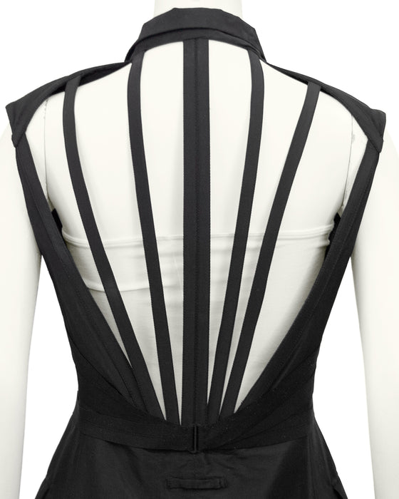 Black Silk Double Breasted Cage Back Vest
