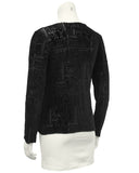 Black Devore Cut Velvet Long Sleeve Top