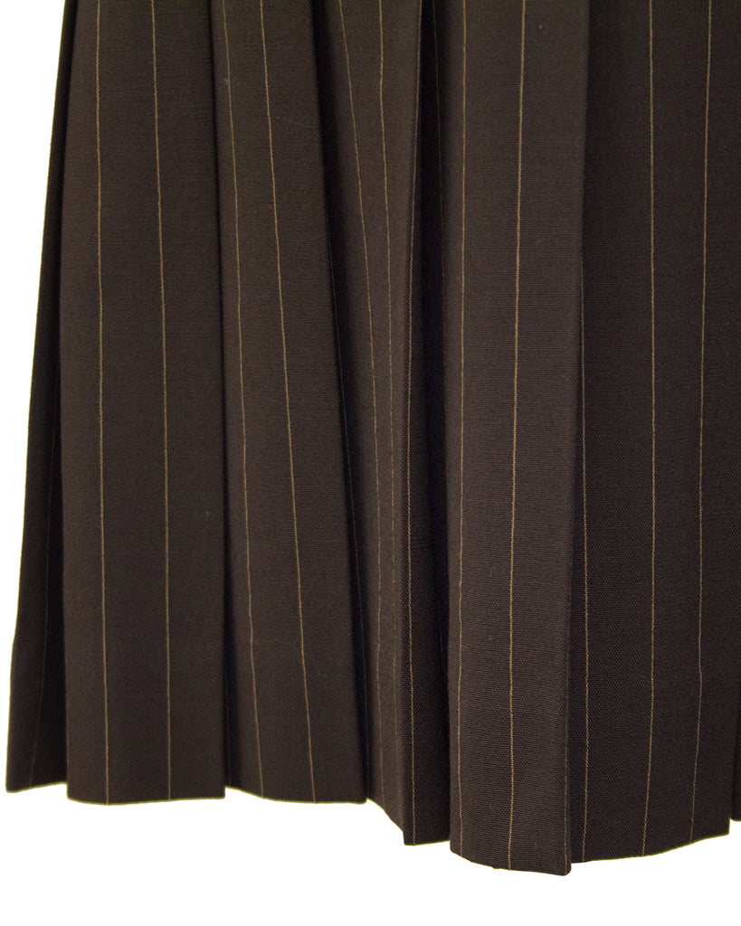 Brown Pin Stripe Mini Skirt with Butt Boning