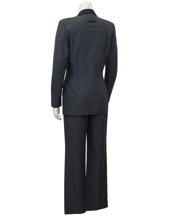Grey and Black Tuxedo Style Pant Suit