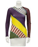 Multi Color, Mixed Print and Fabric Long Sleeve Top