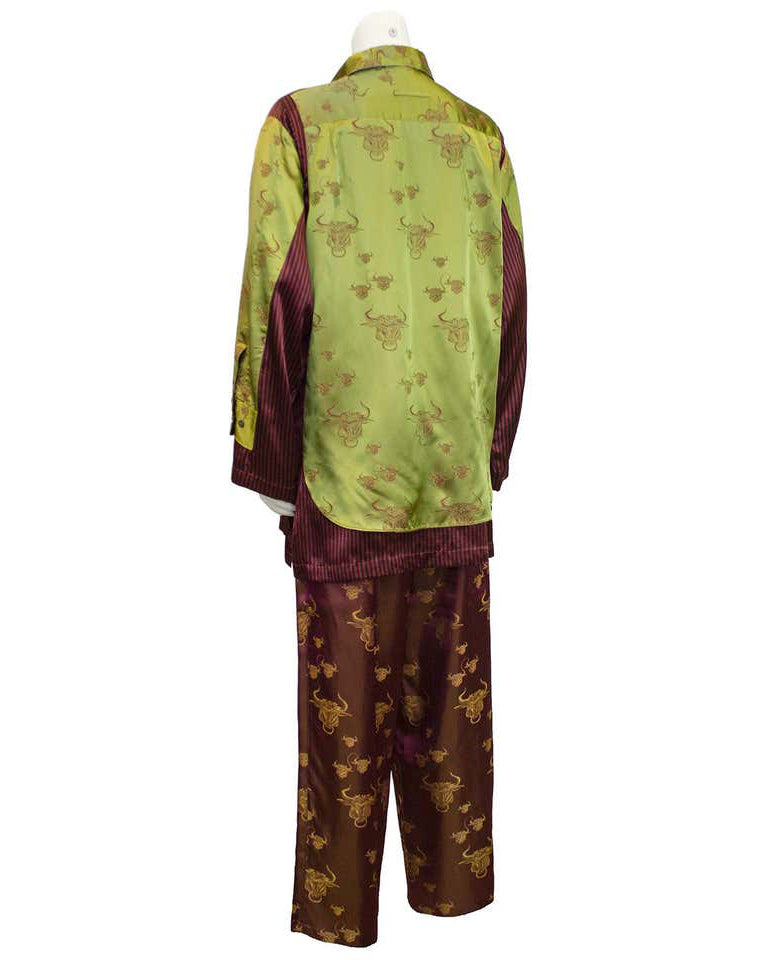 Green & Maroon Silk Lounge Ensemble