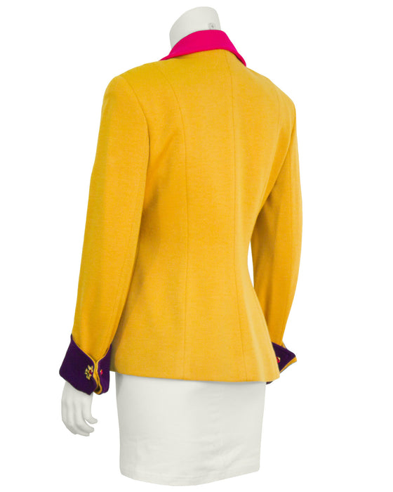 Yellow Skirt Suit with Mutli Color Details