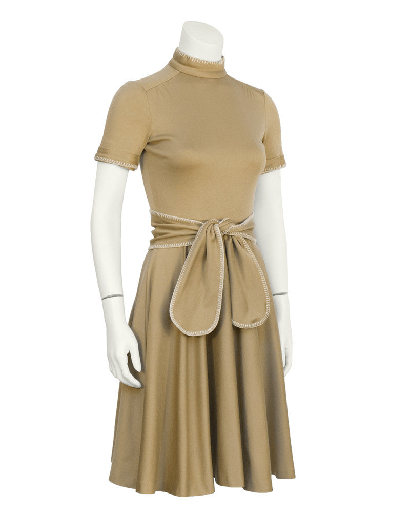 Brown Whipstitch Dress with Belt