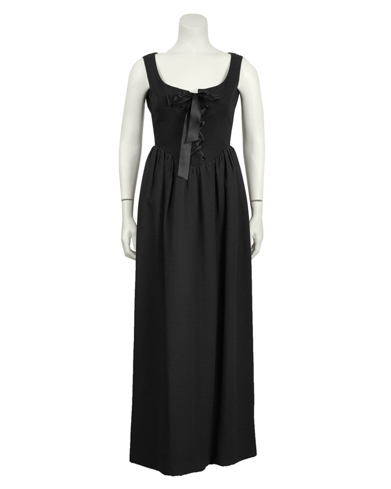 Black Cotton Pique Gown