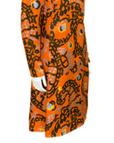 Orange silk dress with blue & brown abstract print
