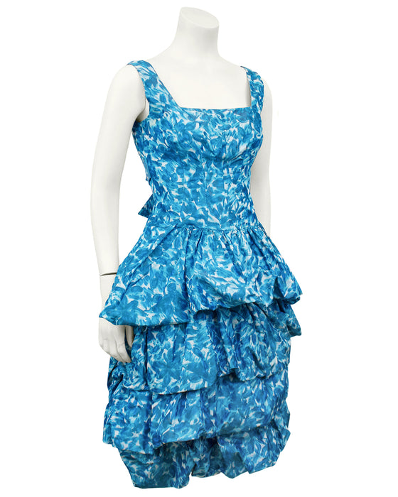 Blue Silk Taffeta Cocktail Dress and Opera Coat Ensemble