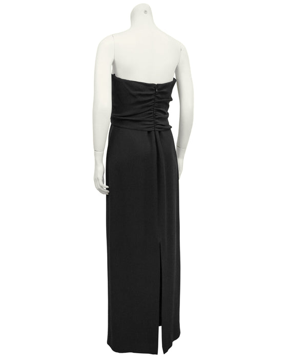 Black Strapless Silk Sheath Gown with Rosette