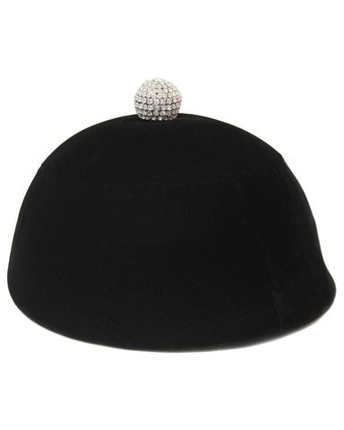Black Velvet Hat with Rhinestone Detail