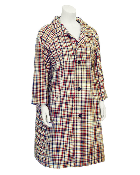 Red and Navy Plaid Haute Couture Coat