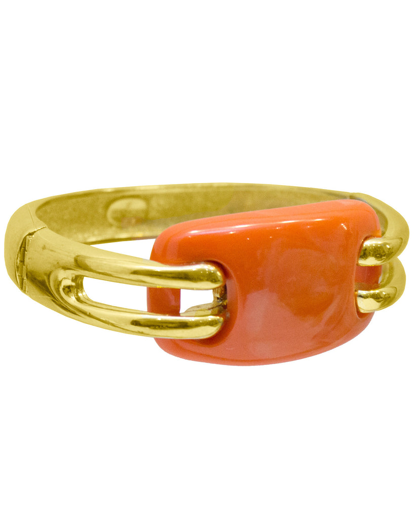 1976 Faux Coral and Gilt Bangle