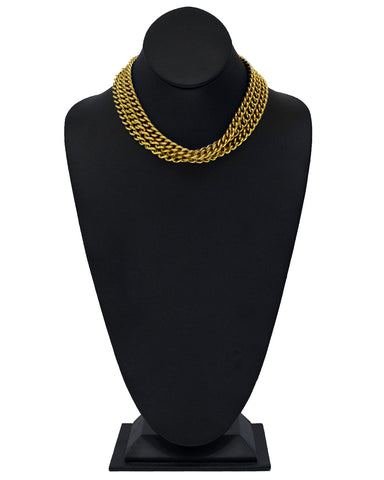 Gold Triple Strand Chain Choker