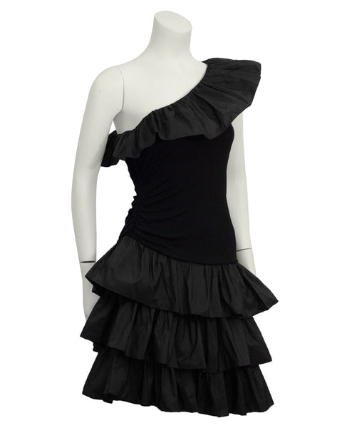 Black Ruffle One Shoulder Cocktail