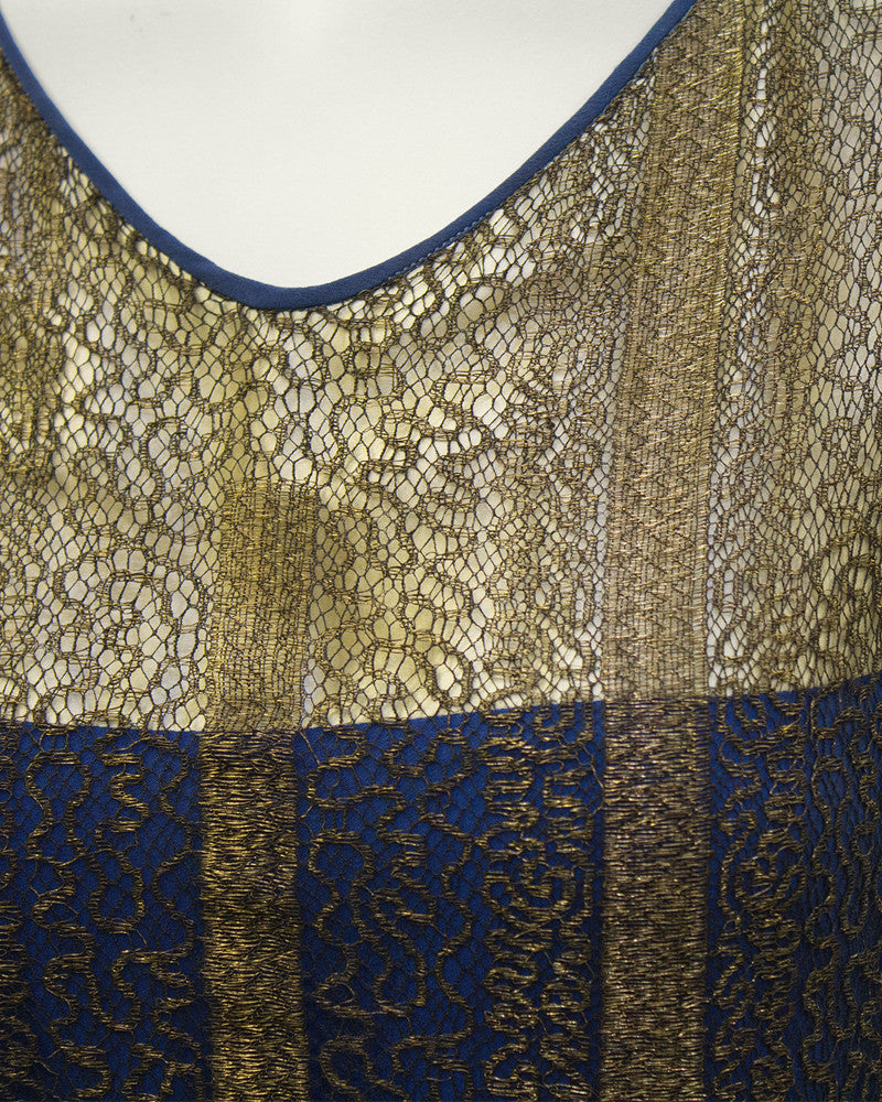 Gold and Navy Lace Art Deco Flapper Dress