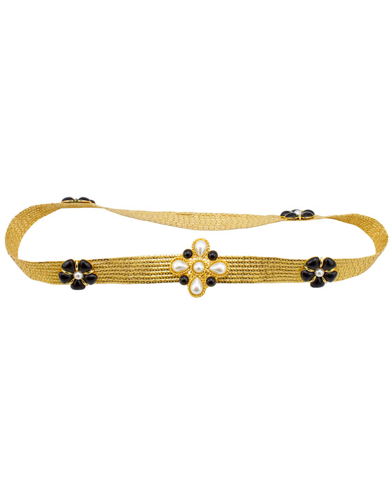 Gold Mesh Belt with Black Poured Glass Jewels and Pearl Details