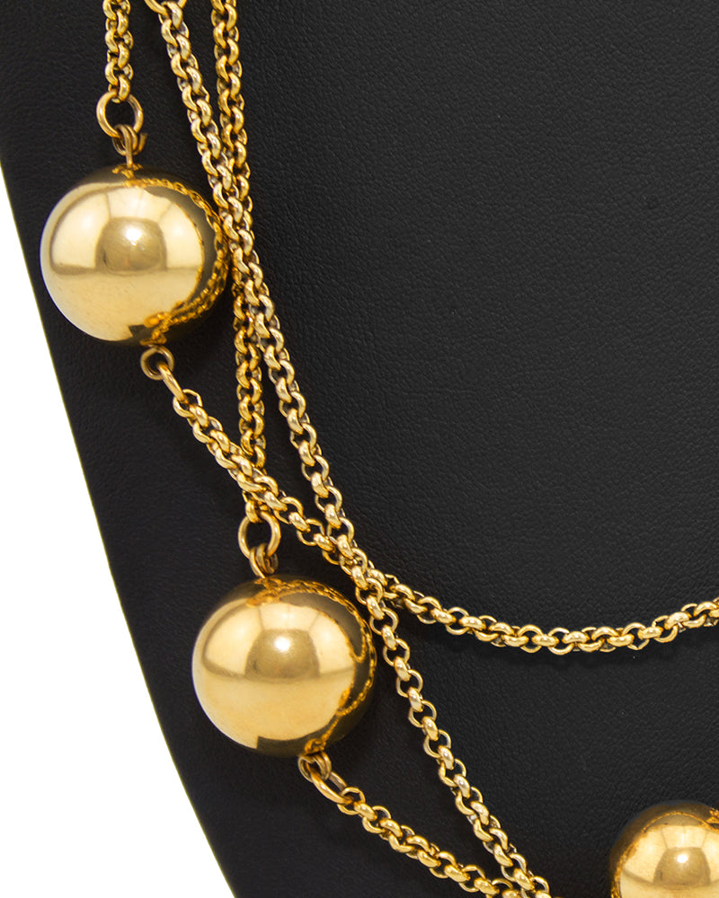 Goldtone Sphere and Chain necklace