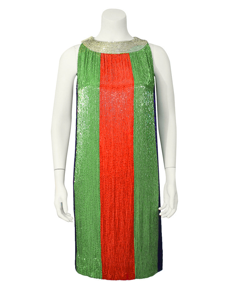 Green, Orange, Blue and Silver Color Block Beaded Shift Dress