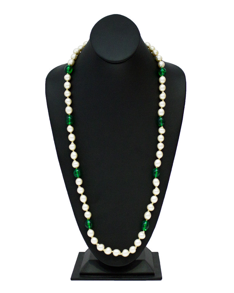 Faux pearl  & green poured glass necklace