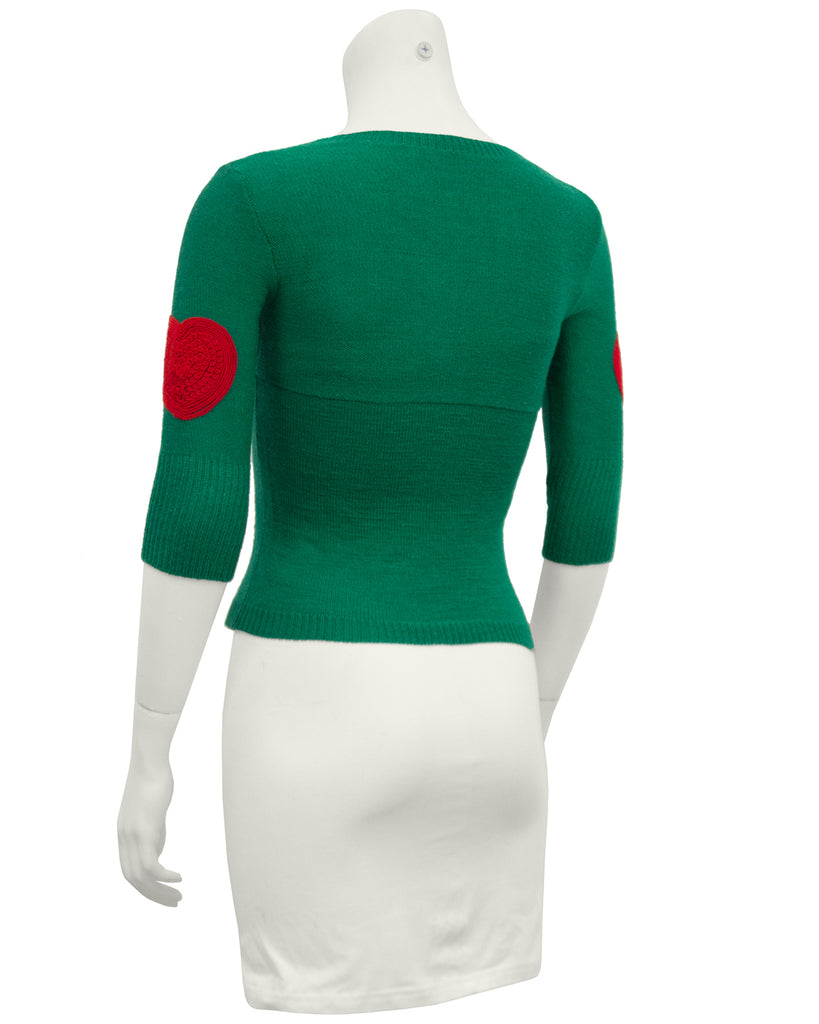 Green Wool Sweater with Heart Patches