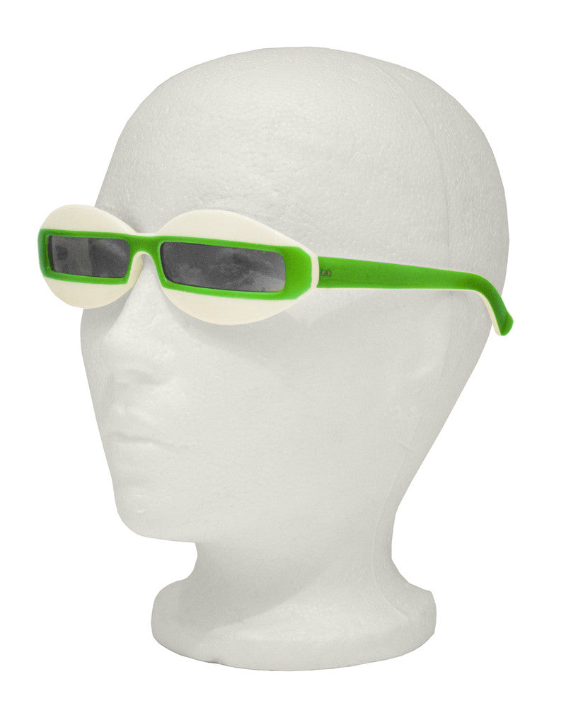 Green and White Futuristic Sunglasses