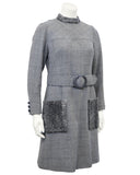Grey Wool Weave Shift Dress with Persian Lamb Details