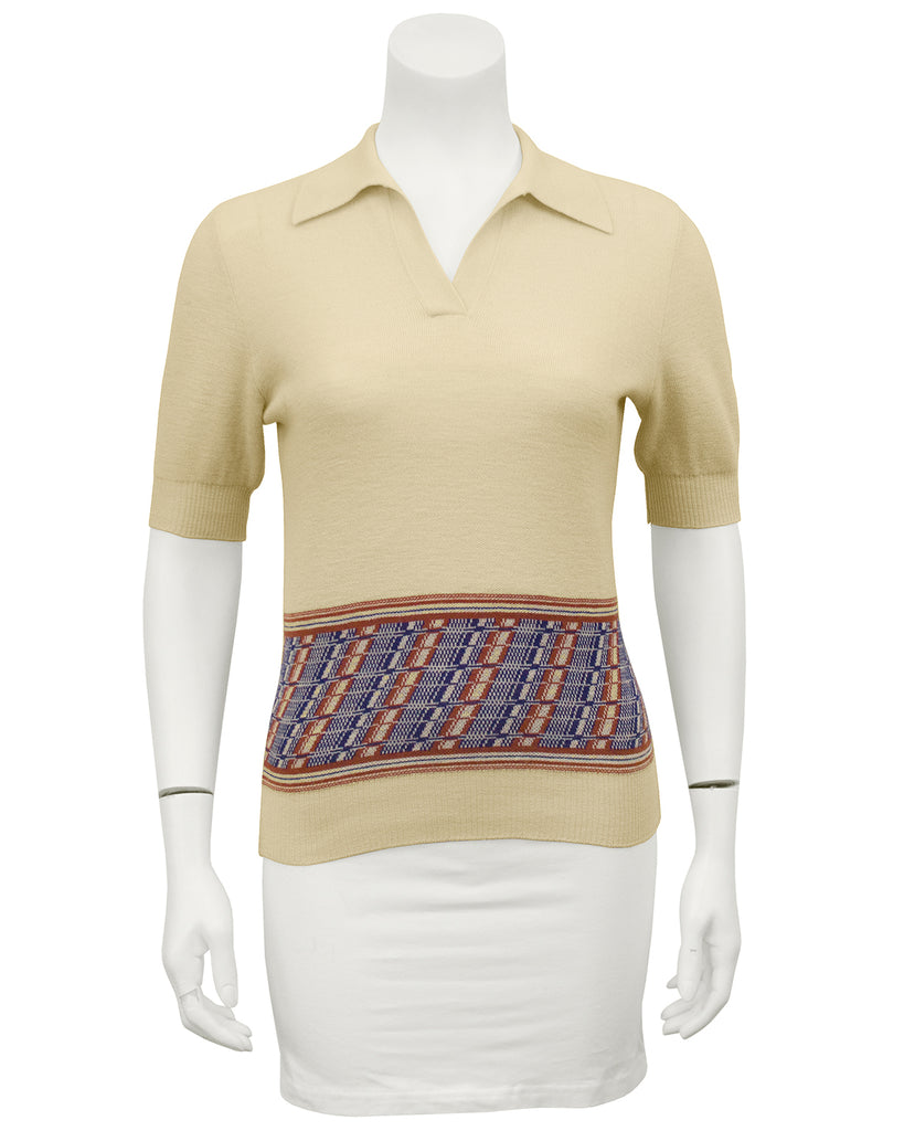Cream Knit Polo Top