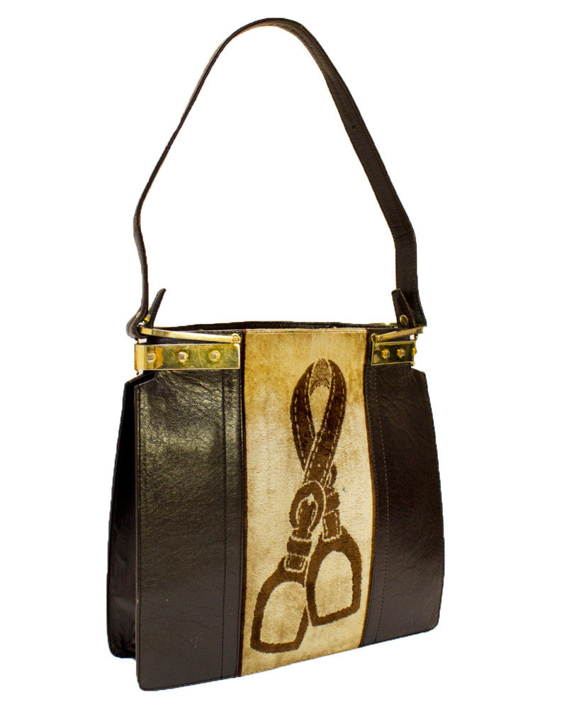 Brown Leather & Velvet 1970's Tote