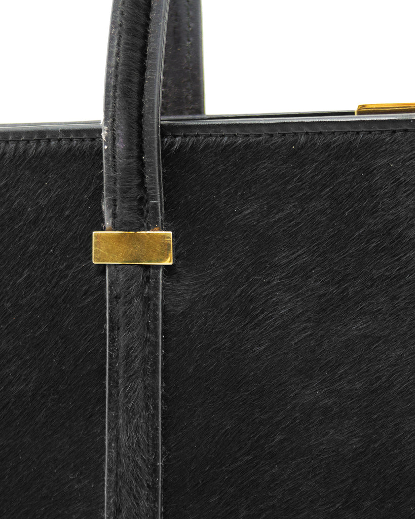 Black Pony Hair Frame Bag