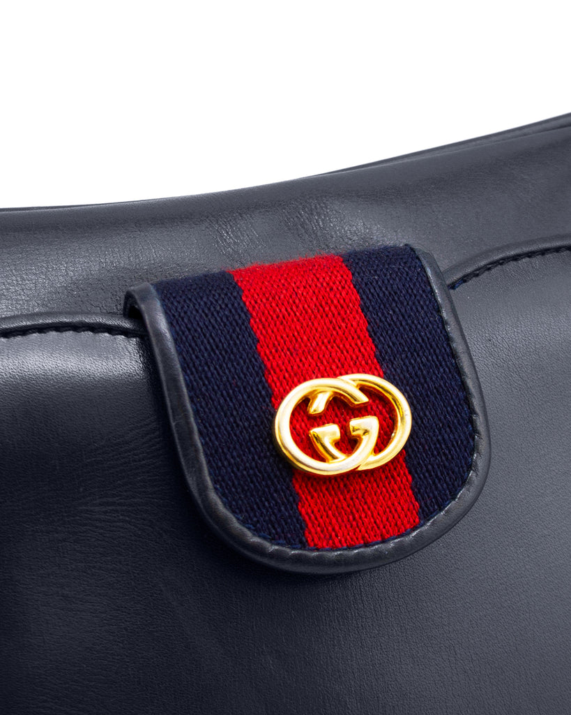 Navy Leather with Red and Navy Webbing Shoulder Bag