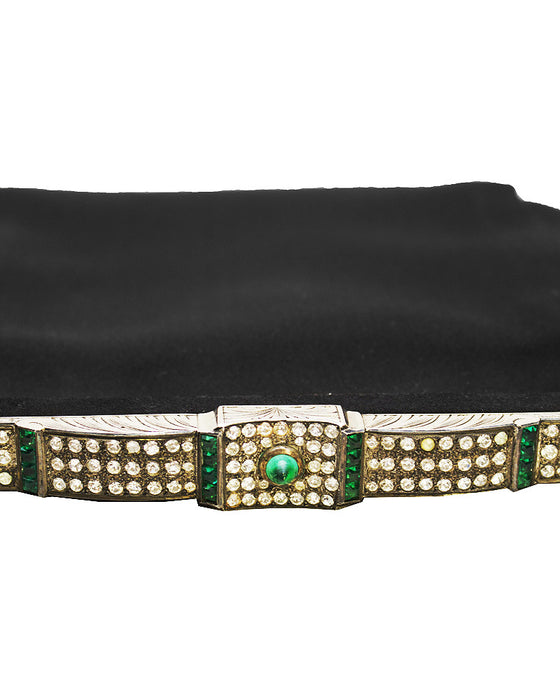 Black Satin Evening Bag with Metal and Rhinestone Frame
