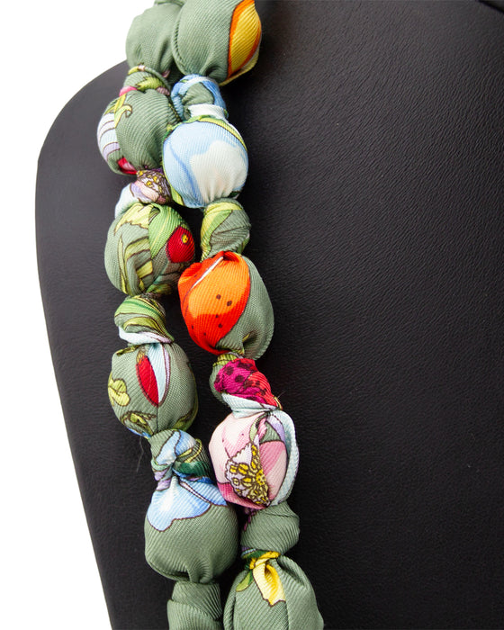 Bespoke Vintage Gucci Silk Scarf Covered Double Strand Necklace