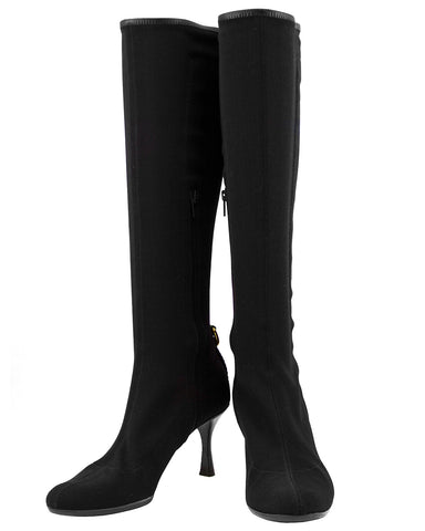 Black Spandex Knee High Boots with Red and Green Ribbon Detail
