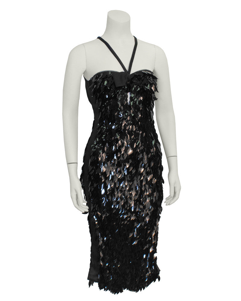 Black Razor Back Cocktail Dress with Paillettes