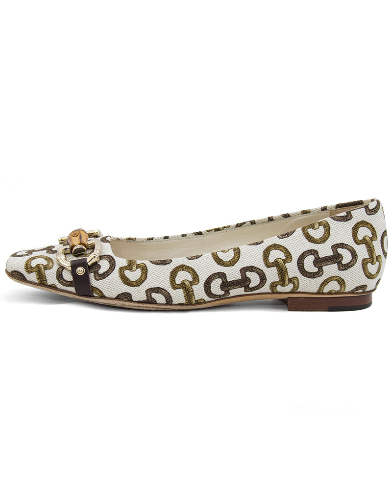 Bamboo and Horsebit Printed Flats