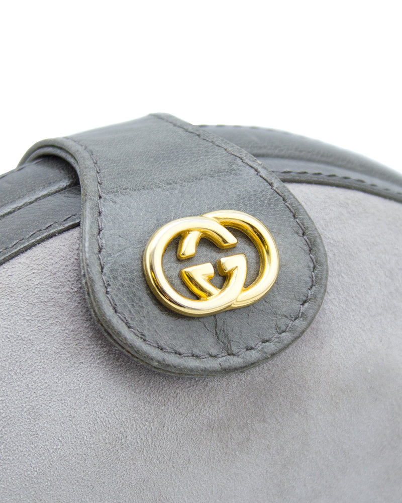 Grey Suede and Leather Clamshell Bag with Removable Strap
