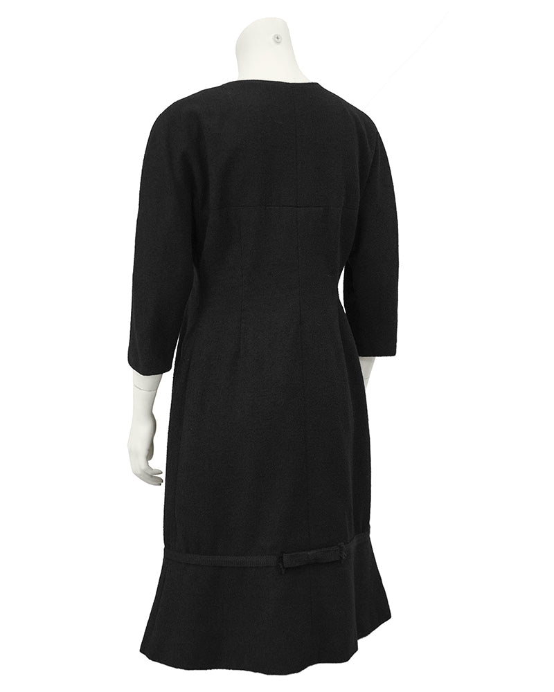 Boucle Black Long Sleeve Day Dress