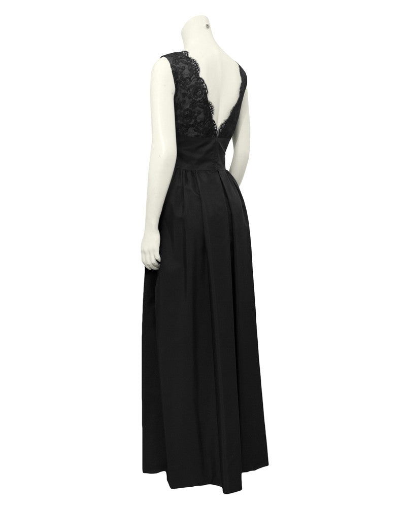 Black Lace Bodice Silk Gown