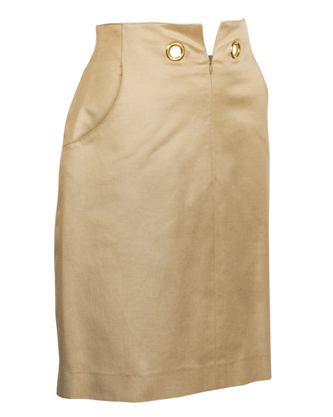 Beige Skirt with Gold Grommets