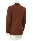 Brown Cashmere Double Breasted Jacket in Rust