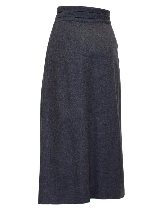 Grey Wool and Cashmere Midi Skirt