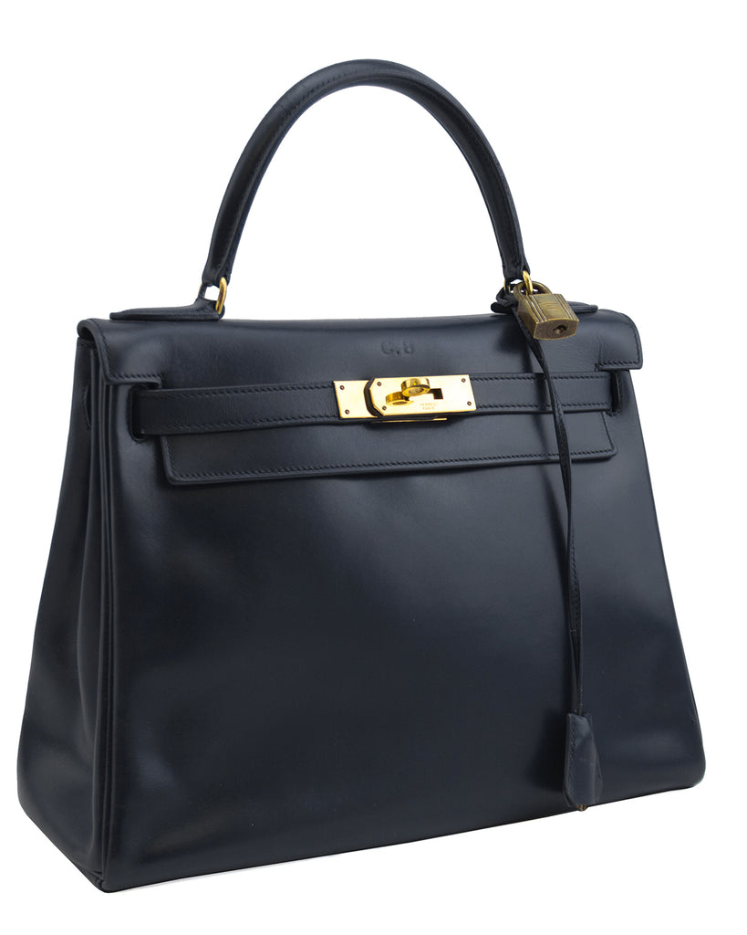 1973 Navy Blue Box Supple Leather 28cm Kelly Bag