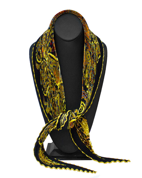 """La Charmante aux Animaux"" Pleated Silk Scarf"