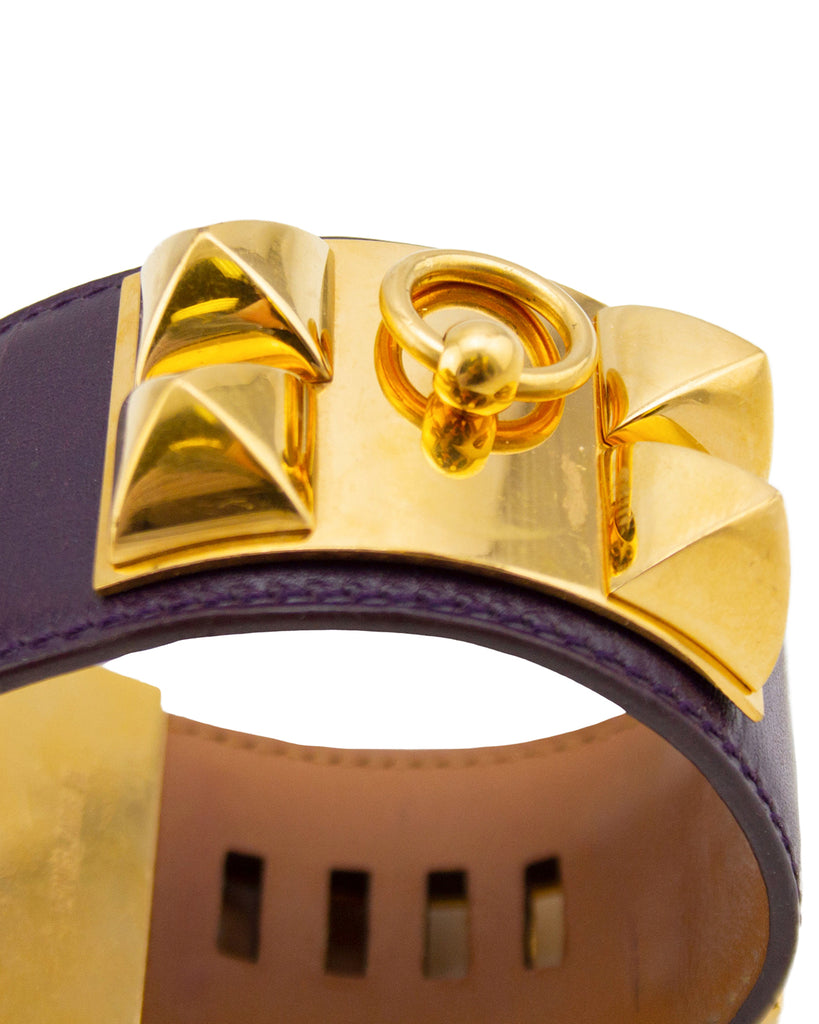 Purple Box Leather Collier de Chien Cuff